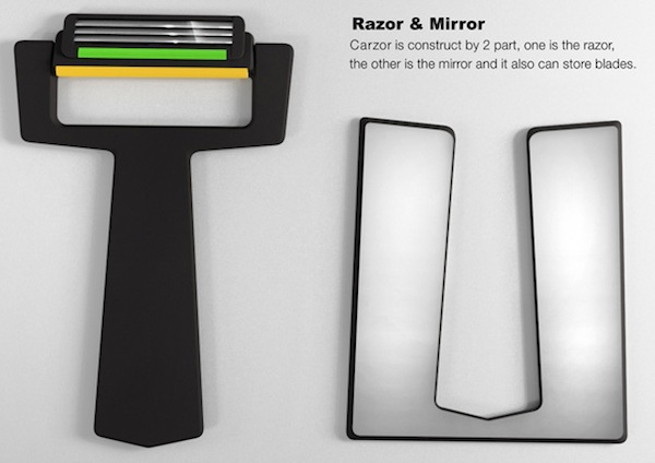 Carzor-Card Shaped Razor & Mirro2