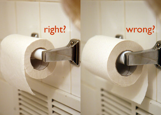 The right way or wrong way to hang toilet paper