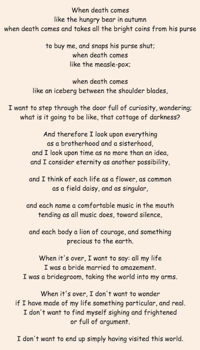 mary oliver when death comes