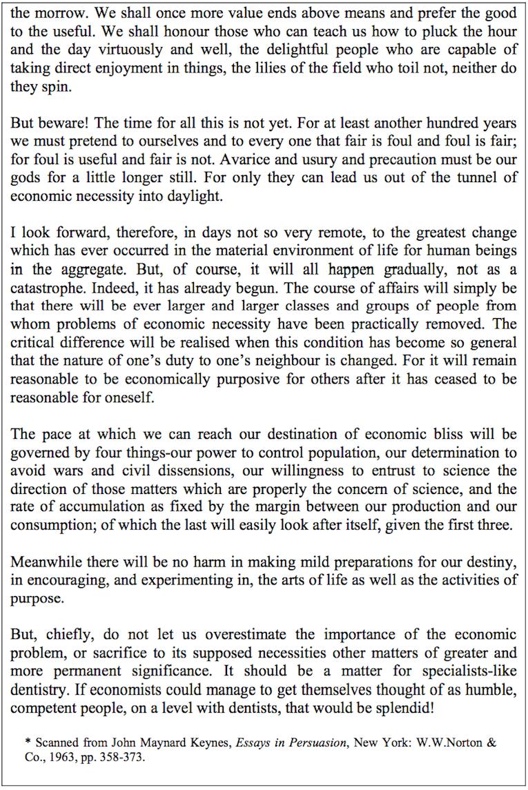 keynes essay economic possibilities for our grandchildren