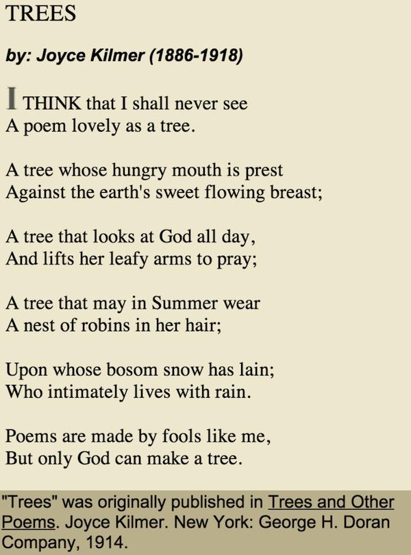 Bookofjoe Quot Trees Quot Joyce Kilmer 1914