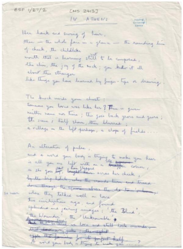 In Athens  second draft  written in blue biro